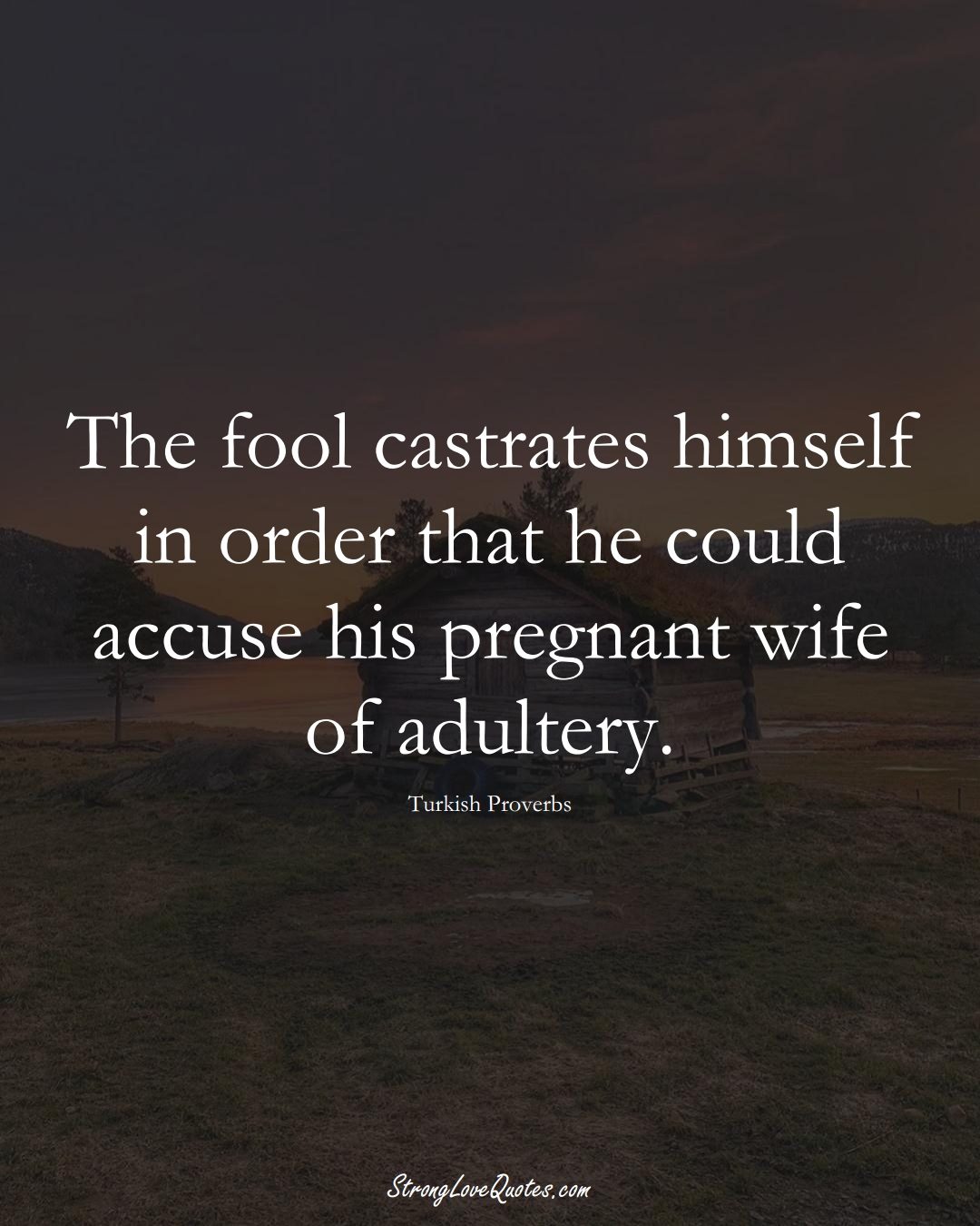 The fool castrates himself in order that he could accuse his pregnant wife of adultery. (Turkish Sayings);  #MiddleEasternSayings