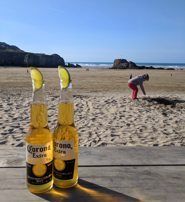 A Postcard from Perranporth Beach, Cornwall  - beers from the watering hole