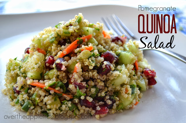 Pomegranate Quinoa Salad, easy fresh salad by Over The Apple Tree