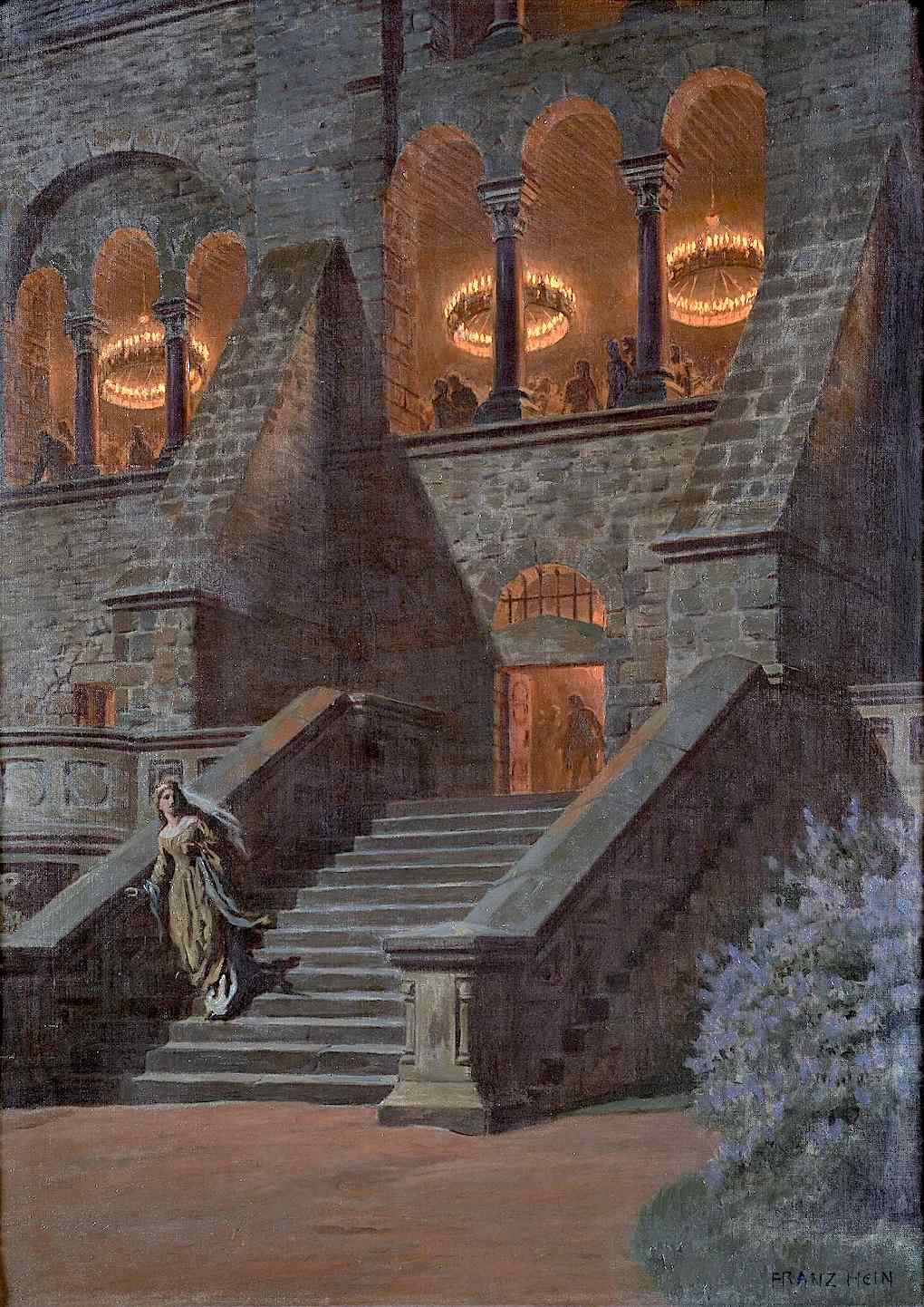a Franz Hein painting of a women fleeing a castle party, Cinderella