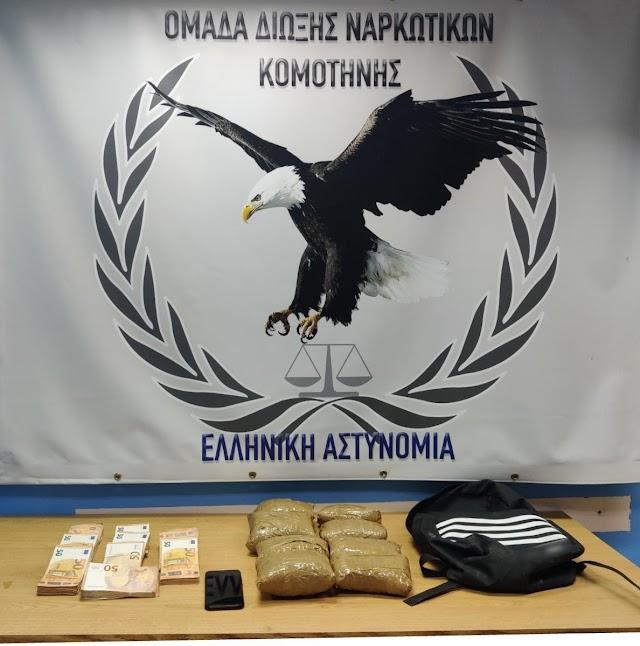 Συνελήφθη  χθες (23-2-2021), στην παρέβρια περιοχή του Σουφλίου αλλοδαπός με 3,4 κιλά ηρωίνη