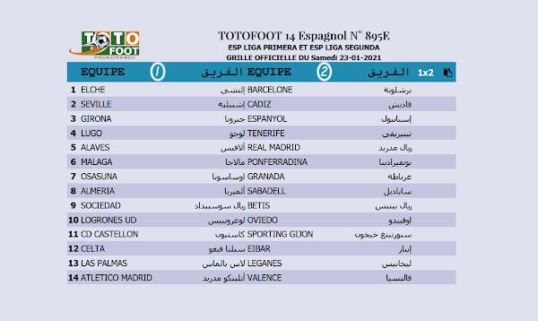 PRONOSTIC TOTOFOOT 14 Espagnol N° 895E