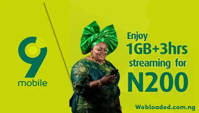 9mobile 1GB + 3Hours Free Streaming Data Plan For N200