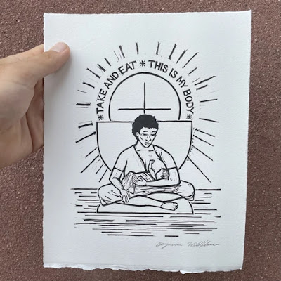 ID: a black and white print shows a person of African descent breaast feeding a child below a cross with a circle around it and the words *TAKE AND EAT*THIS IS MY BODY*