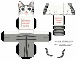 Gato papercraft para descargar gratis
