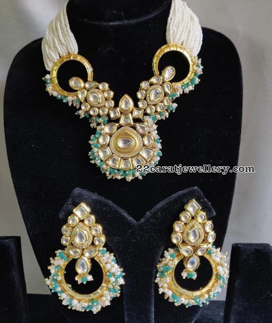 Polki Choker with Small Pearls Chandbalis