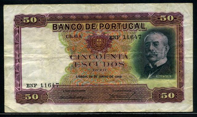 Portuguese money currency 50 Escudos banknote