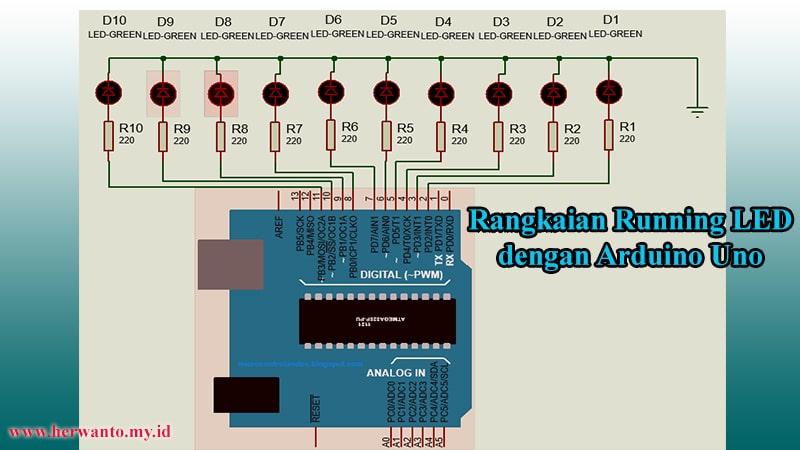 Rangkaian Running LED dengan Arduino Uno