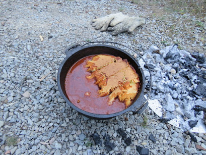 Mike made chili with corn bread, in the Dutch Oven.