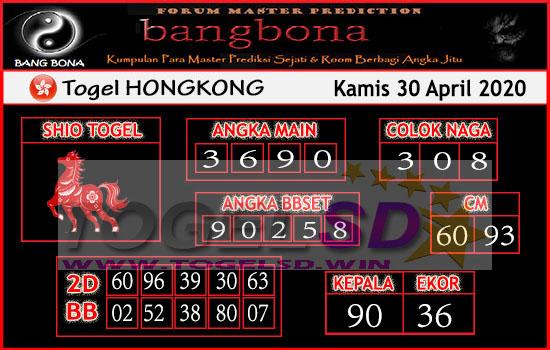 Prediksi HK 30 April 2020 - Bang Bona HK