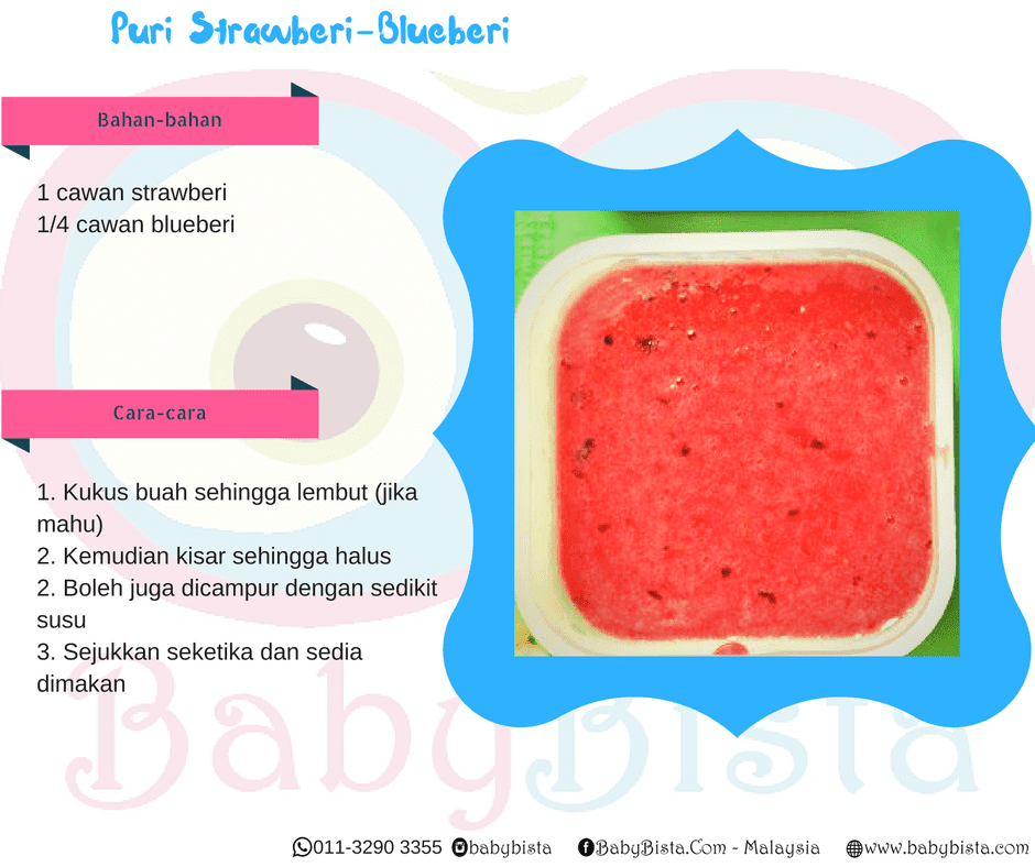 resepi puri strawberi blueberi