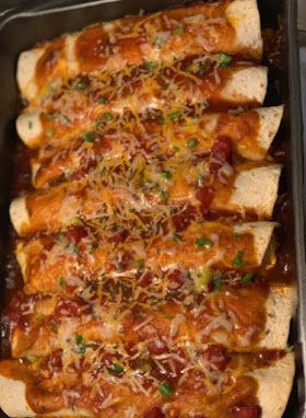 Homemade chicken and cheese enchiladas