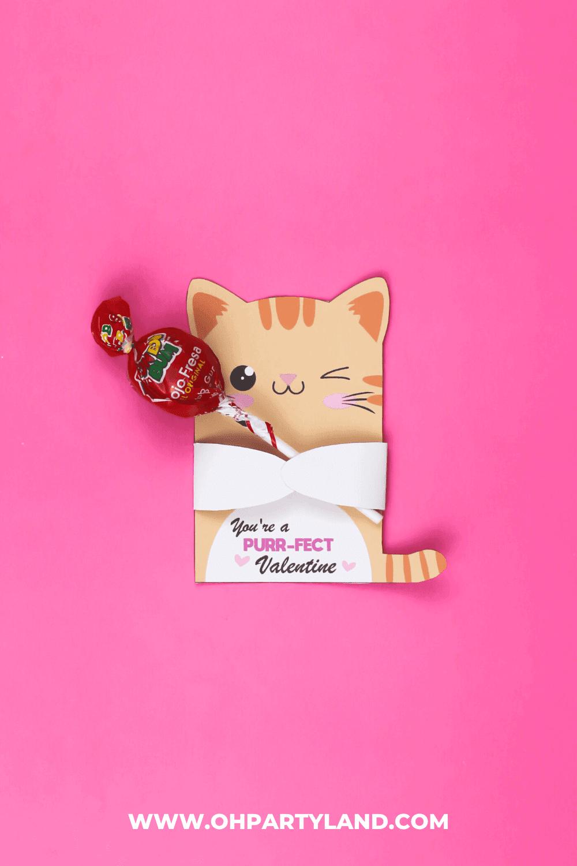 cute cat valentine candy holder