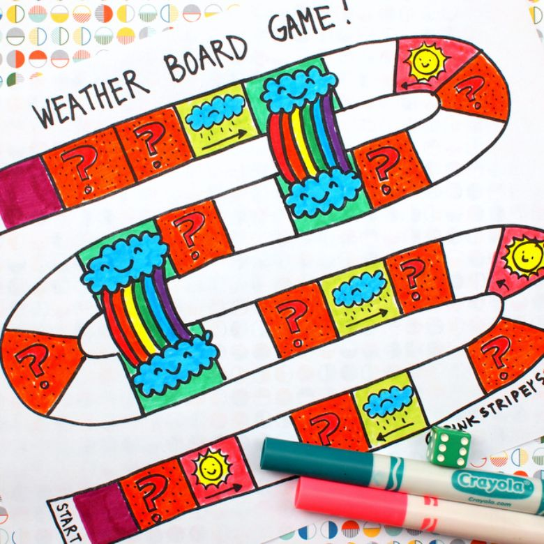 printable games for kids - weather board game