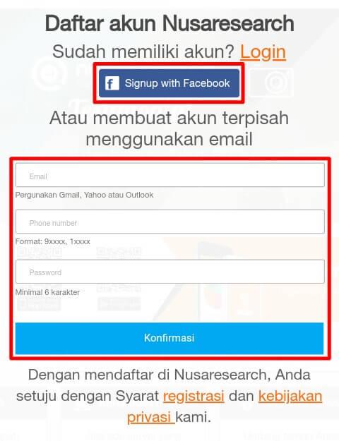 silahkan menuju situs resmi Nusaresearch.net untuk mendaftar / membuat akun.