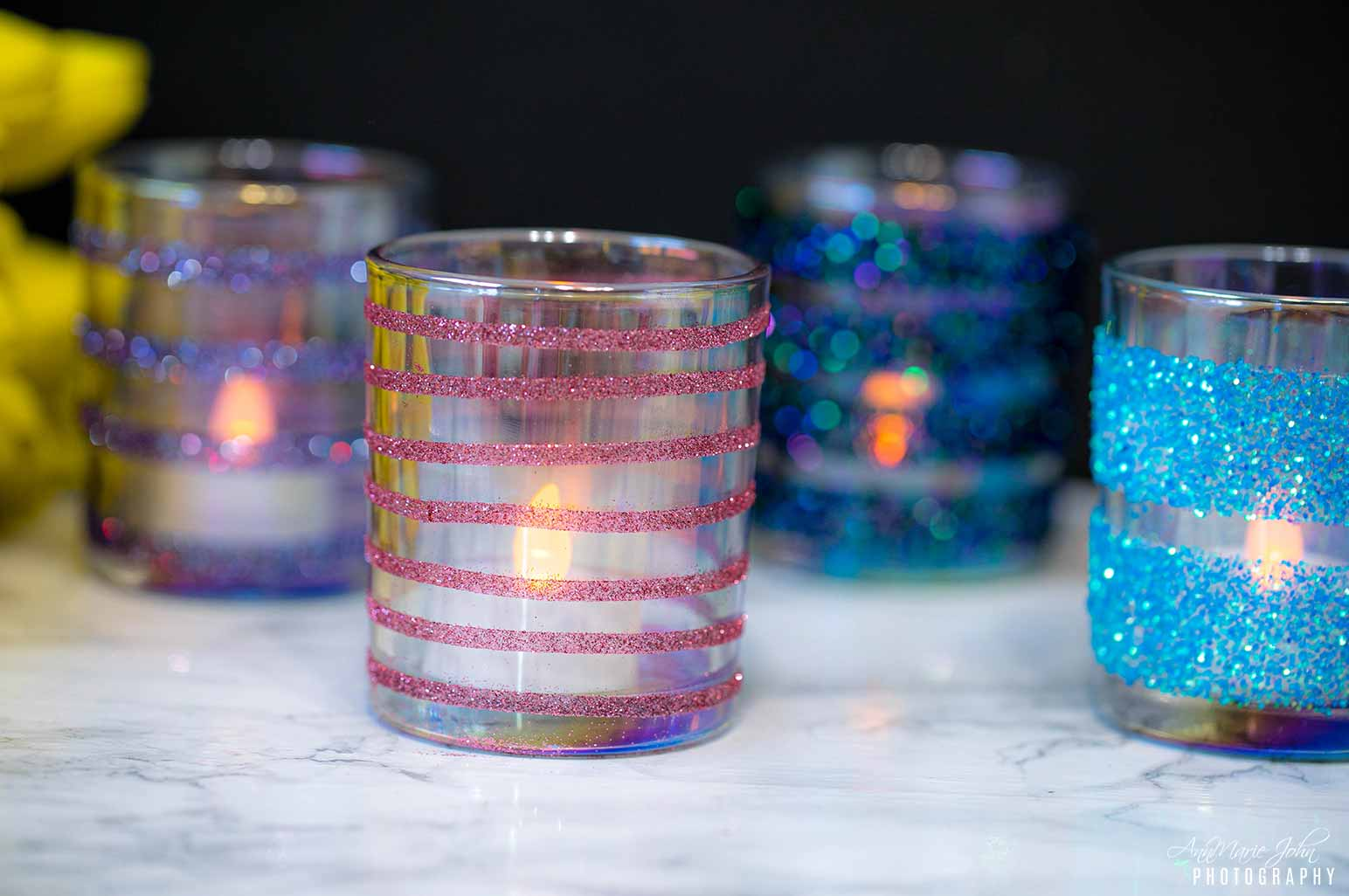 Glitter Votive Candle Jars