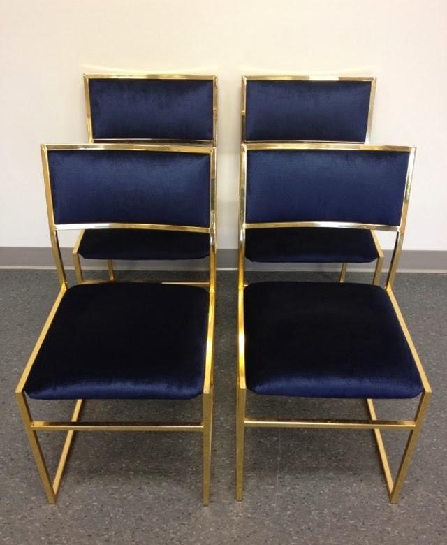 Chaises vintage en laiton et velours