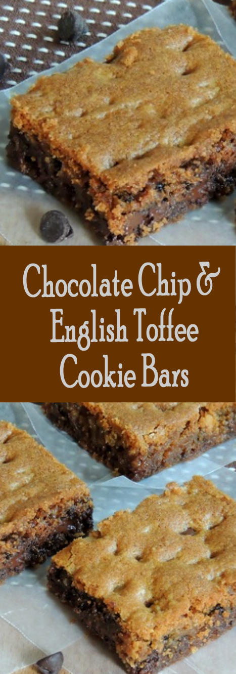 Recipe Chocolate Chip & English Toffee Cookie Bars #bars #cookies