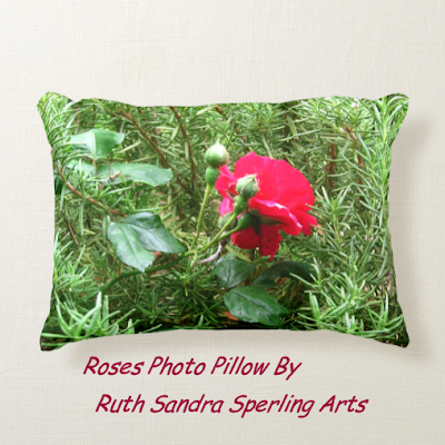 Throw Pillow with Red Roses Photo by Ruth Sandra Sperling