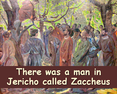 Watercolour of Jesus speaking to Zaccheus while he sat in a tree in Jericho.