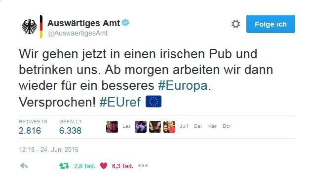 Wir gehen jetzt in einen irischen Pub und betrinken uns. Ab morgen arbeiten wir dann wieder für ein besseres #Europa. Versprochen! #EUref