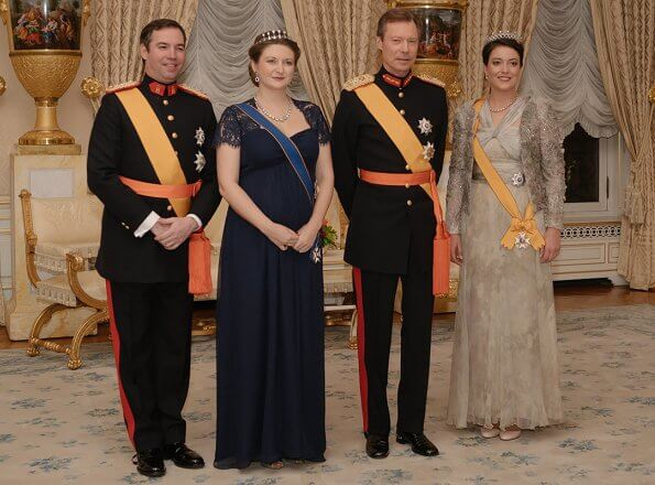Princess Stephanie wore Seraphine navy blue silk and lace maternity evening dress. Hereditary Grand Duchess Stephanie and Princess Alexandra