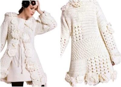 Abrigo-chaqueta con apliques crochet