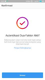 cara mendapatkan kode autentikasi instagram