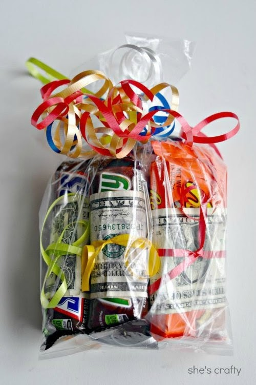 Birthday Gift for Teens - candy bars wrapped with dollar bills and placed into clear bag.
