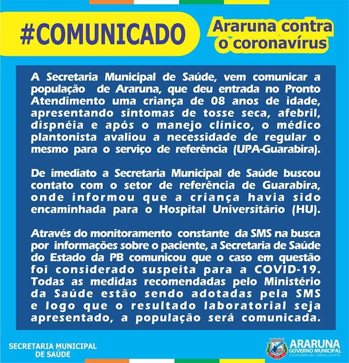 Araruna registra primeiro caso suspeito de Coronavírus