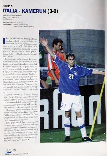 PIALA DUNIA 1998 GRUP B ITALIA VS KAMERUN (3-0)