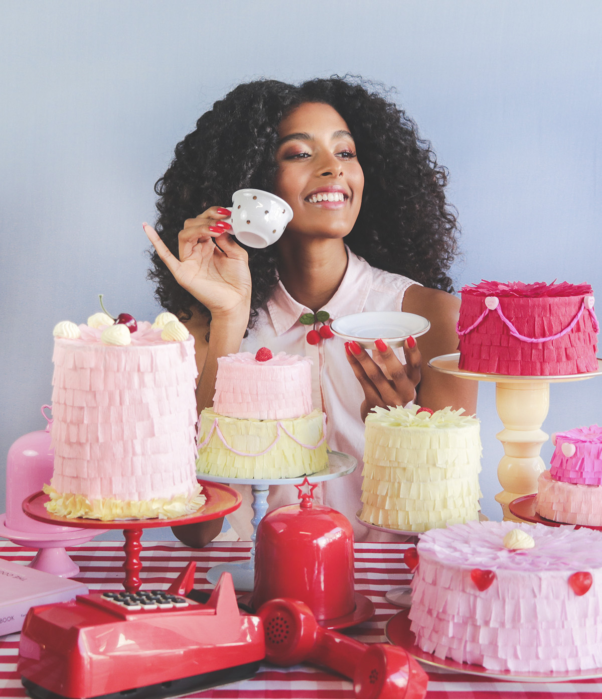 selfcare selftime retro valentines cake pinata dinner shooting editorial