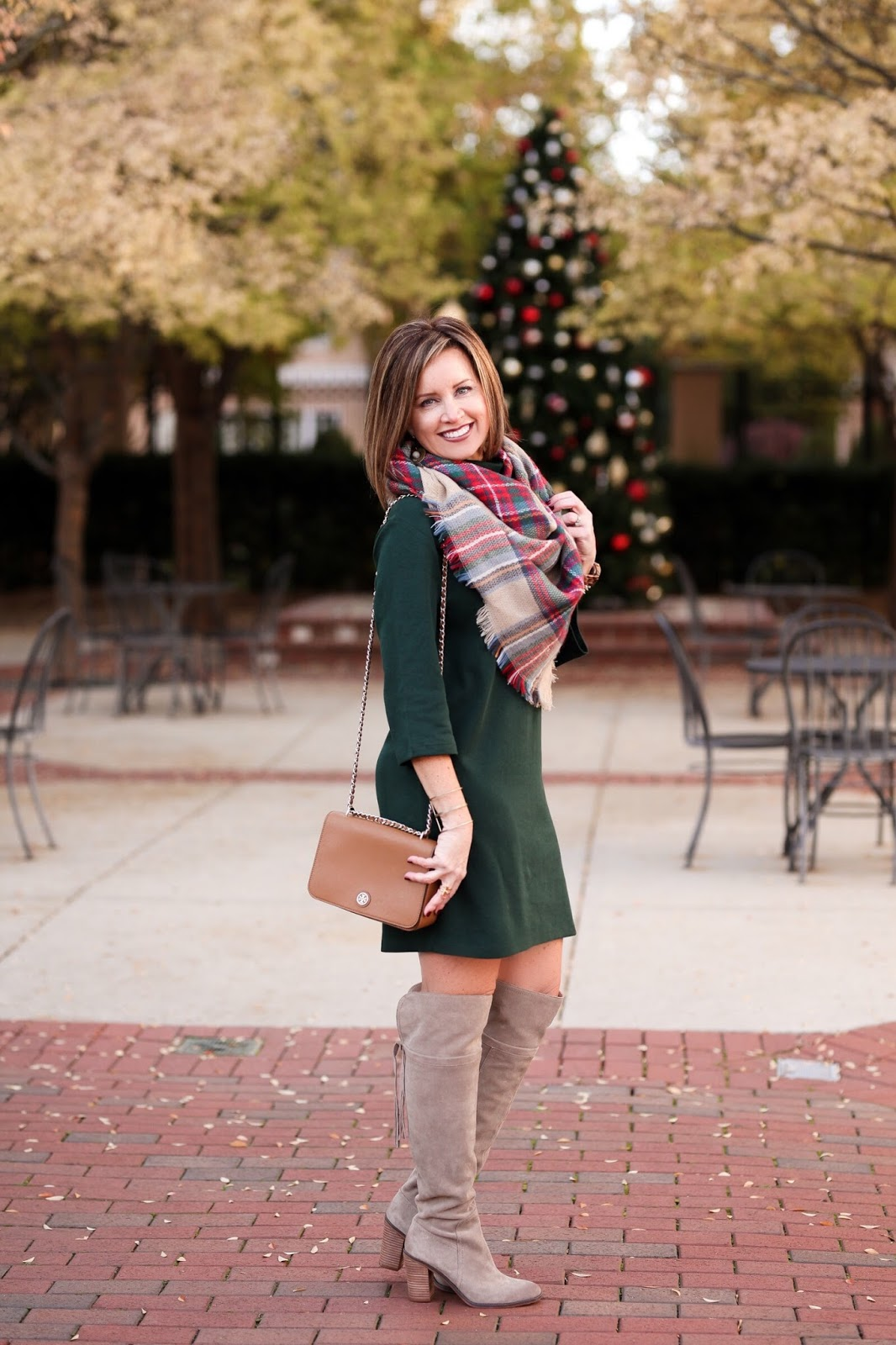aaef4f0705b Similar green dress here    Plaid blanket scarf    Similar Tory Burch purse     Similar over the knee boots