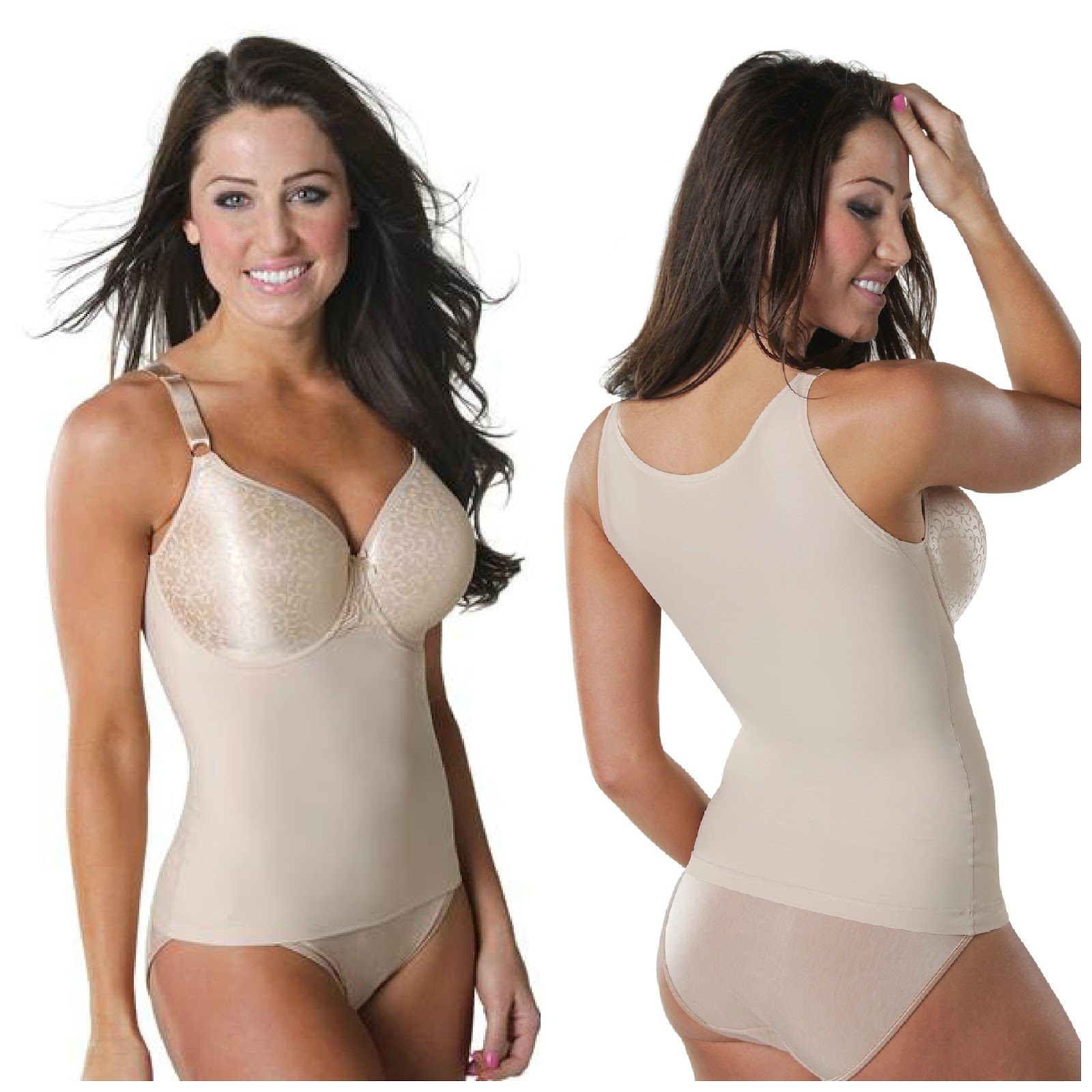 Shapeez longline bra vest smoothing top in nude