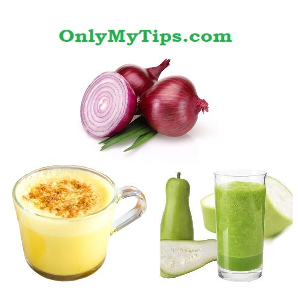 turmeric milk, gourd juice, lauki juice, onion, treatment