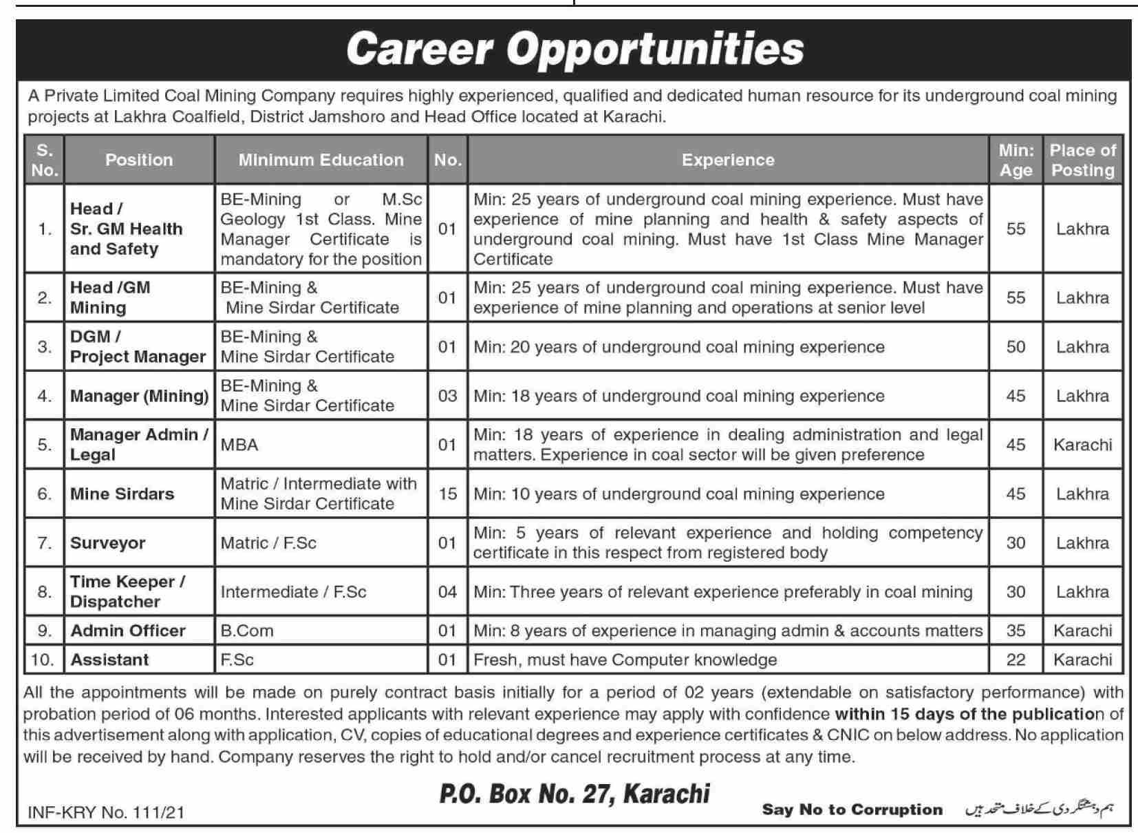 Coal Mining Jobs 2021 - Private Company Jobs 2021 - Jobs in Karachi 2021 - Jobs in Pakistan