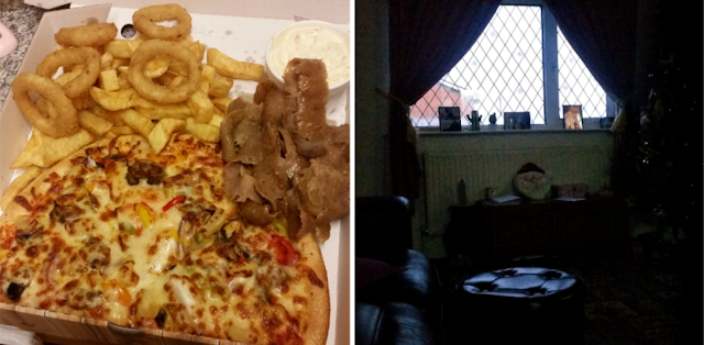 Pizza and chips & my living room in the dark.