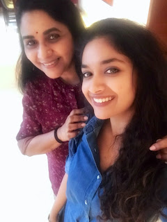 Keerthy Suresh in Blue Dress with Cute and Awesome Smile with Sridevi Sreedhar 2