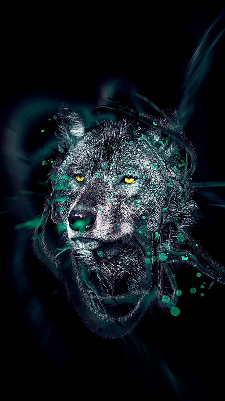 Papel de Parede Lobo Negro hd Celular