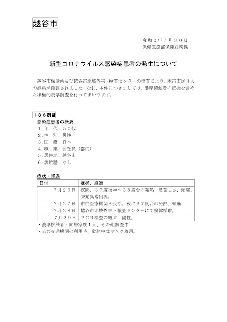 新型コロナウイルス感染症患者の発生について(7月30日発表)