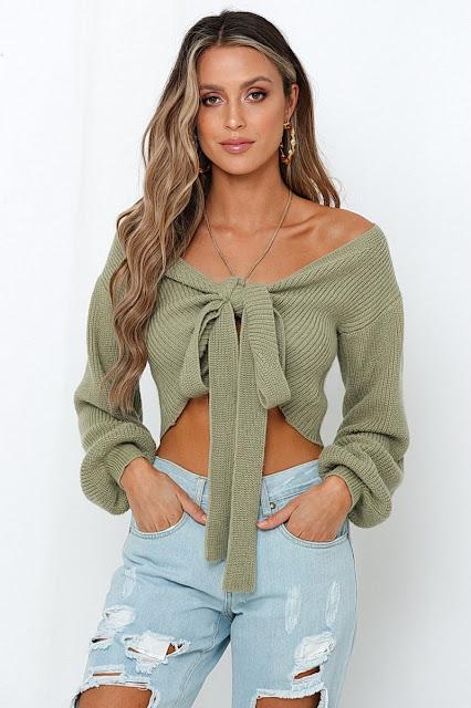 gloriana knit crop green