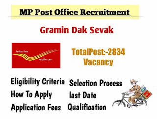 MP Post office Recruitment 2020 Apply Online 2834 Post