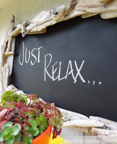 chalkboard with driftwood frame