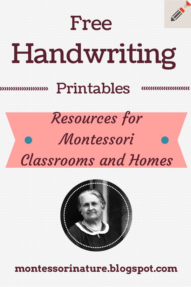Free Handwriting Printables.   Montessori Nature [ 1102 x 735 Pixel ]