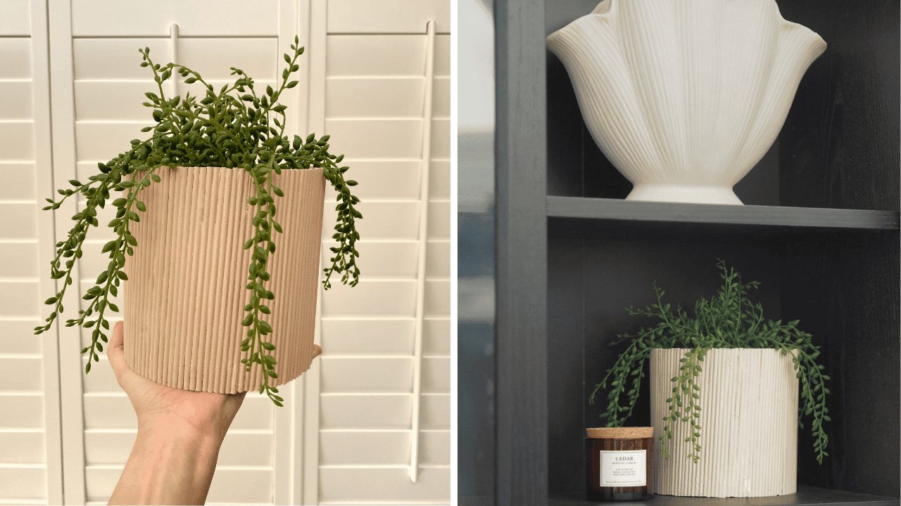 DIY reeded plant pot made from an old candle