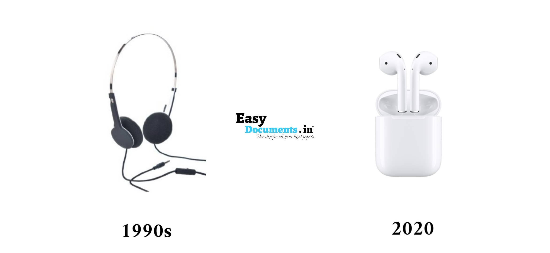 Headphones in 90s vs 2020