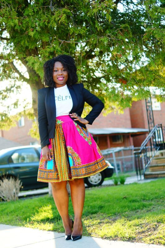 Dressing des 4 Saisons Zuvaa African style Dashiki Jupe evasee skirt rose Concours