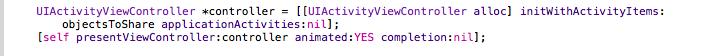 UIActivityController initialse