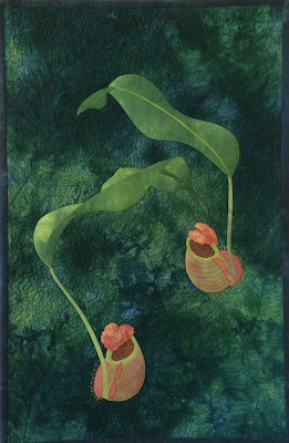 art quilt wall hanging pitcher plants
