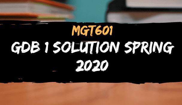MGT601 GDB